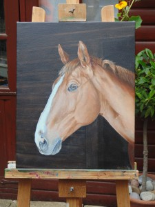 Oil on linen canvas horse portrait. 40 x 50 cm,
