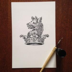 Bassett Bookplate, ink drawing