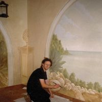 This mural was executed in oil-glazes over eggshell, on plaster walls. The work contains some of my