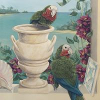 The birds are rare Bahama Parrots, the shell and tile products of local ceramic artisans. The urn matches the marble tiles of the room. The medium is acrylic on to emulsion on plaster. Completed September 2007