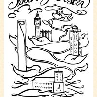Ex libris that depicts significant places where the person has lived.