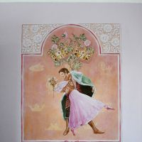 Acrylic on plaster and wallpaper, approximately 1 x 1.2 metres. The image was inspired by both the story and ballet. I have used