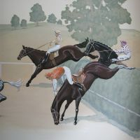 the girl being rather fond of horses! Acrylic on emulsion, approximately 2.2 x 0.8 metres