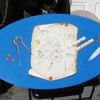 Trompe l'oeil map table.