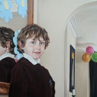 a double portrait of my son. Oil on linen, 75 x 55 cms. First sitting May 2013, finished January 2014