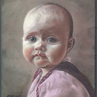 This is a life size portrait. It is oil on canvas, 26 x 20 cms. Finished February 2004.