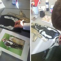 I am currently doing trompe l'œil painting techniques in several local schools (all Royal Borough of Windsor and Maidenhead). Dedworth Middle, Dedworth Green, Alexander, Homer and Braywood First Schools. Years 1 to 8. Pictures will follow as each school completes its project.